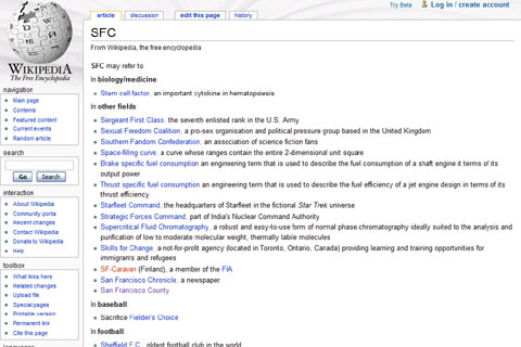 SFC in Wikipedia
