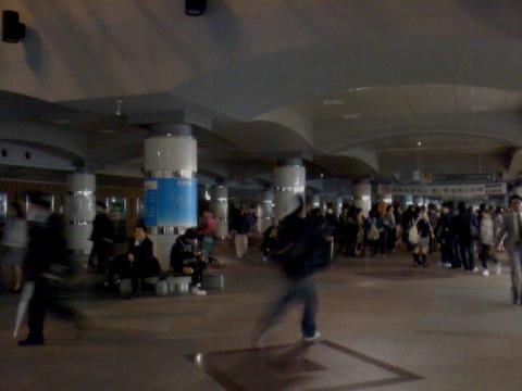 停電時の湘南台駅の様子