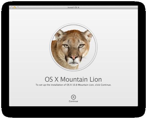 Mountain Lionインストールウィザード
