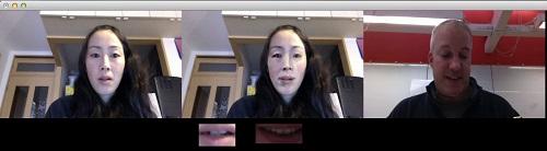 実際の「FaceShadowing」の画面。利用者とネイティブスピーカーの間に合成された顔が映される。