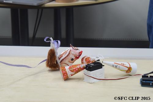 「ラブリボンちゃん」の動きが停止する。ゼンマイの巻きが足りなかったか。