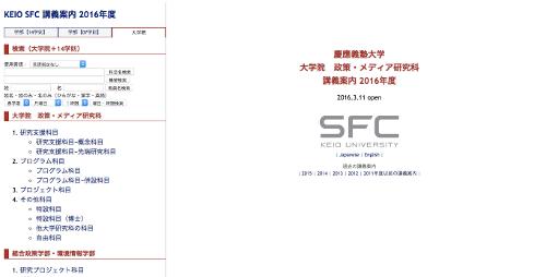 KEIO SFC 講義案内 2016年度 (http://vu8.sfc.keio.ac.jp/course_u/data/2016/title_g.html) より