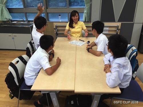 中学1年生とブレストを行うSFC生(写真中央)