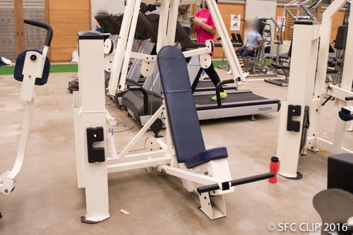 大胸筋や上腕三頭筋、三角筋などを鍛えるチェストプレスを始め、様々なウェイトマシンがある