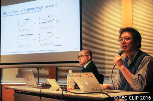日本の現状と問題点について語る安宅特任教授(手前)