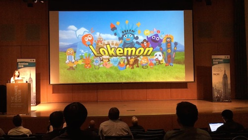 MobiComにてLokemonを発表する坂村さん(坂村さんより提供)