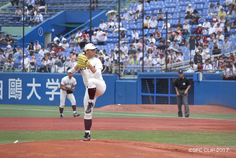 早稲田のローテーションの一角を担う好投手、柳澤投手