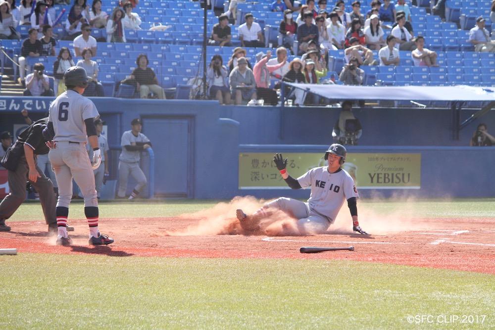 抜け目のない走塁で自ら追加点を獲得した菊地投手