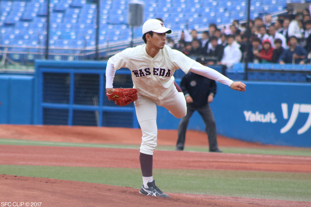 Kazuya Ojima, a pitcher for the Waseda University team, after pitching to Keio