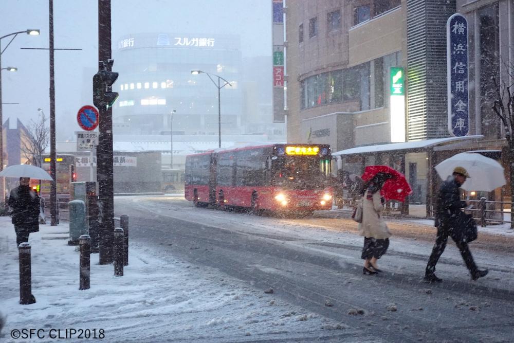 帰宅時間の湘南台も雪景色に