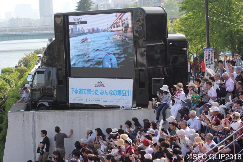 桜橋に集まる大勢の観客