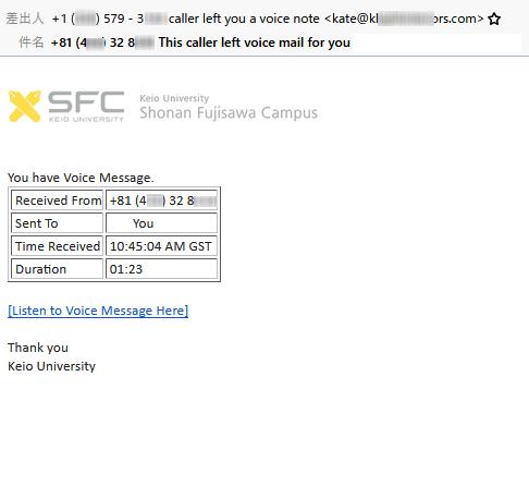 実際のフィッシングメール(湘南藤沢ITC提供)